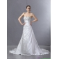 Affordable White Pleated Sequined Wedding Dresses with Court Train