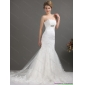 Affordable White Strapless Lace Wedding Dresses with Beading and Brush Train