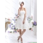 Affordable White Strapless Wedding Gowns with Bownot and Rolling