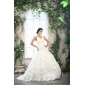 Affordable White Straps Ruffled Wedding Dresses with Brush Train