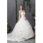 2015 Affordable Sweetheart Wedding Dress with Beading and Hand Made Flowers