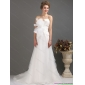 Affordable Ruffles Strapless Bownot White Wedding Dresses with Brush Train