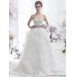 Affordable White Sweetheart Brush Train Wedding Dresses with Rhinestones and Sash