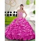 2015 Classic Fuchsia Dress for Quince with Beading and Pick Ups