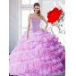 2015 Classic Lilac Quinceanera Gown with Beading and Ruffled Layers