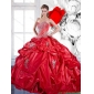 2015 Couture Beading and Appliques Red Quinceanera Dresses with Brush Train and Pick Ups