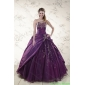 2015 Couture Purple Sweetheart Appliques Quinceanera Dresses