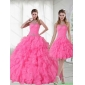 2015 Detachable Strapless Quinceanera Dresses with Beading and Ruffles