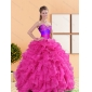 Classic 2015 Beading and Ruffles Sweetheart Quinceanera Dresses in Hot Pink
