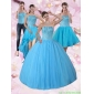 Classic Baby Blue Strapless 2015 Quinceanera Dress with Beading