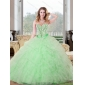 Classic Beading and Ruffles Sweetheart 2015 Quinceanera Dresses in Apple Green