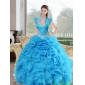 Classic Beading and Ruffles Sweetheart 2015 Quinceanera Dresses in Baby Blue