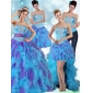 Classic Multi Color Strapless Quinceanera Dress with Ruffles and Sash