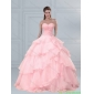 Classic Pink Sweetheart Beaded Quinceanera Dresses with Ruffled Layers