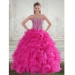Classic Sweetheart Hot Pink 2015 Quinceanera Gown with Beading and Ruffles