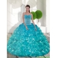 Classic Sweetheart Teal Quinceanera Dresses with Appliques and Ruffled Layers