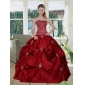 Classic Wine Red  Pretty Strapless 2015 Quinceanera Gown with Embroidery and Pick Ups