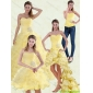 Classic Yellow Beaded and Ruffled Sweetheart Quinceanera Dress for 2015