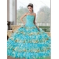 Fashionable Beading and Ruffled Layers Sweetheart Quinceanera Dresses for 2015