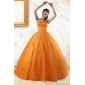 2015 Couture Princess Orange Quinceanera Dresses with Appliques