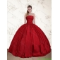 2015 Perfect Strapless Beaded Floor Length Quinceanera Dresses in Red
