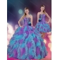 2015 Strapless Multi Color Quinceanera Dresses with Beading and Ruffles