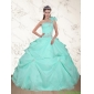 Classic Beading and Appliques 2015 Dress for Quince in Apple Green