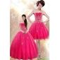 Classic Strapless Floor Length Hot Pink Quince Dresses with Appliques