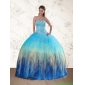 Classic Sweetheart Multi Color Quinceanera Dress with Ruffles and Beading