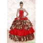 Couture Leopard Multi-color 2015 Quinceanera Dresses with Strapless