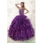 Couture Purple Strapless 2015 Quinceanera Dress with Appliques