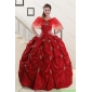 Couture Wine Red Strapless 2015 Quinceanera Dresses with Appliques