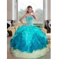 Designer Sweetheart Multi Color 2015 Quinceanera Gown with Appliques and Ruffles