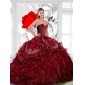 Designer Sweetheart Wine Red 2015 Quinceanera Dress with Appliques and Ruffles