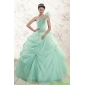 2015 Couture Apple Green One Shoulder Quinceanera Dresses with Appliques