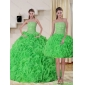 Designer Strapless Spring Green Quince Dress with Beading and Ruffles