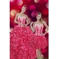 2015 Designer Hot Pink Sweet 15 Dresses with Pick Ups and Appliques