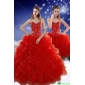 2015 Designer Red Sweet 15 Dresses with Beading and Ruffles
