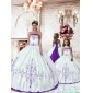 Customize Purple Embroidery White Princesita with Quinceanera Dress for 2015