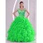 New Style Beading and Ruffles Spring Green Quinceanera Dresses