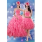 Rose Pink Designer Quince Dresses with Ruffles and Beading for 2015