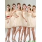 2015 Group Buying A Line Organza Bridesmaid Dress with Mini Length