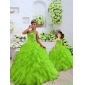2015 Luxurious Beading and Ruffles Green Princesita with Quinceanera Dress