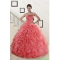 2015 New Style Watermelon Red Sweet 15 Dress with Beading