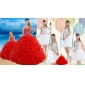 2015 Red Ruffled Quinceanera Dress and Beaded White Short Dama Dresses and Halter Top Beaded Pageant Dresses for Little Girl