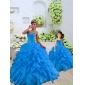 2015 Top Seller Beading and Ruffles Blue Princesita with Quinceanera Dress
