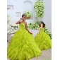 Custom Made Organza Beading and Ruffles Princesita with Quinceanera Dress in Yellow Green