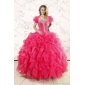 Hot Pink Ruffles and Beaded New Style Quinceanera Dresses for 2015
