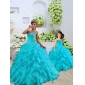 Most Popular Beading and Ruffles Aqua Blue Princesita with Quinceanera Dress for 2015