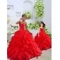 New Arrival Organza Coral Red Princesita with Quinceanera Dress with Beading and Ruffles for 2015